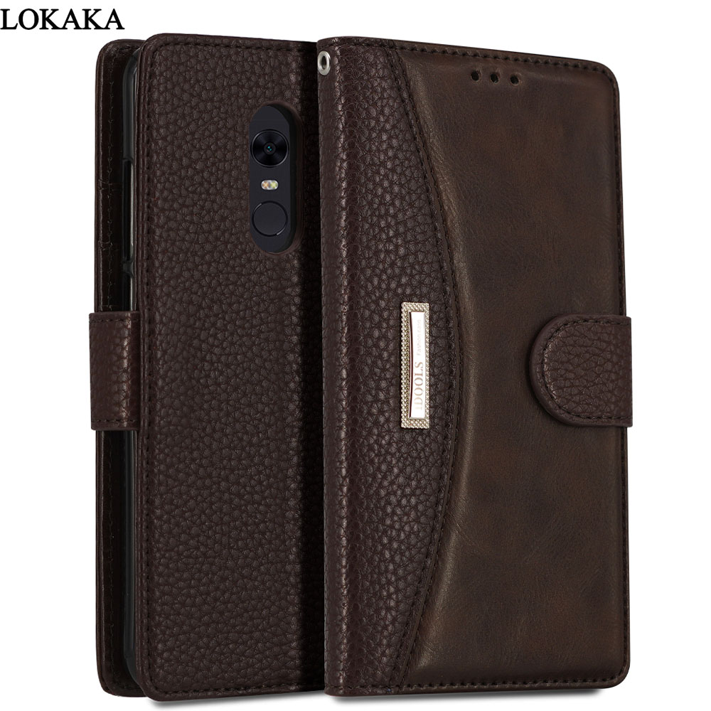 LOKAKA Case For Xiaomi Redmi 5 Plus Redmi5 Pro Luxury PU Leather Cover Wallet Phone Bags Cases For Xiaomi Redmi 5 Plus Prime