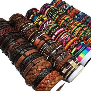 Image 2 - ZotatBele hurtownie luzem wiele losowe 30 sztuk/partia Mix style skórzane mankietów bransoletki męskie damskie biżuteria Party prezenty MX15