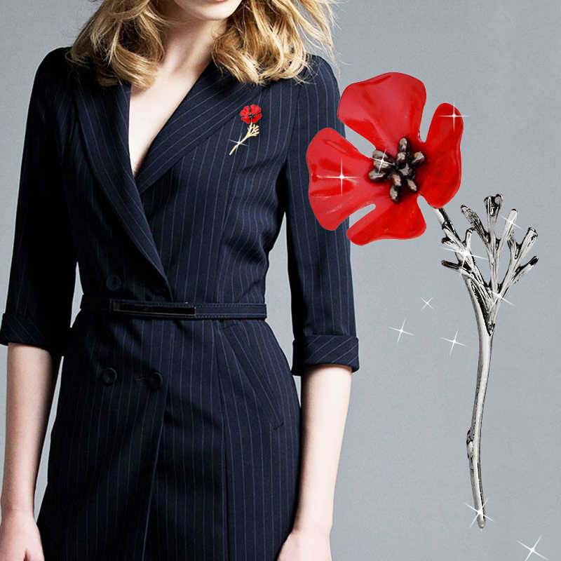 LNRRABC Gun Black Business Suit Women Boutonniere High-end Clothing Men Sweater Poppy Flower Red Vintage  Golden Brooches Alloy