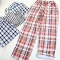 Mujeres cuadrícula sueño pijama inicio pantalones de chándal para las mujeres usan el hogar ocio casual algodón pantalones caseros