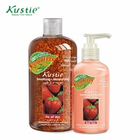 Kustie Promotion Set Sweet Strawberry Extract 500ml Shower Gel 220ml Natural Strawberry Body Lotion