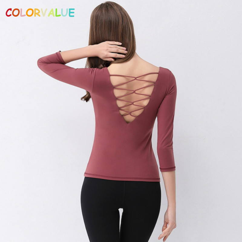 Womens Yoga Workouts Strappy Back Sport Tank: Colorvalue Back Deep V Yoga Fitness Shirts Women Slim Fit