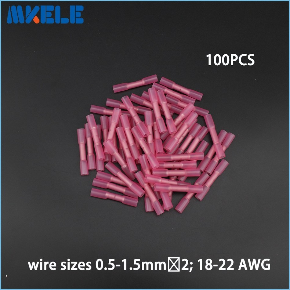 100pcs Insulated Heat Shrink Butt Connectors Wire Electrical Crimp Terminals 22-18AWG Kit