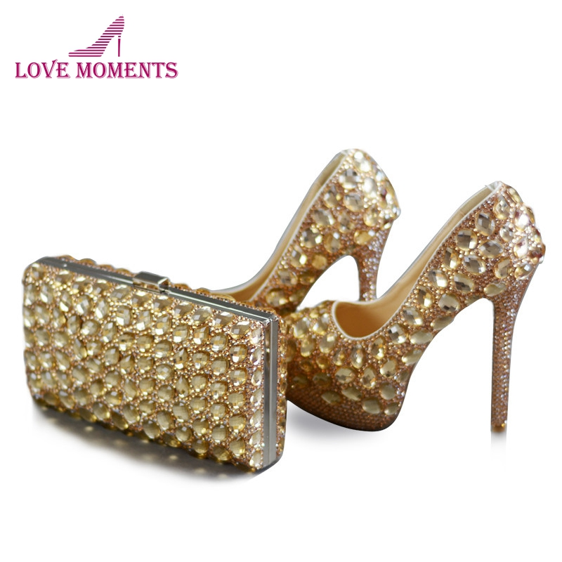 Champagne Rhinestone Wedding Dress Shoes with Handbag Customized Bride Shoes with Matching Purse 5 Inches High Heel Platforms