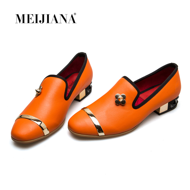 Womens Genuine Leather Low Heels Casual Pumps