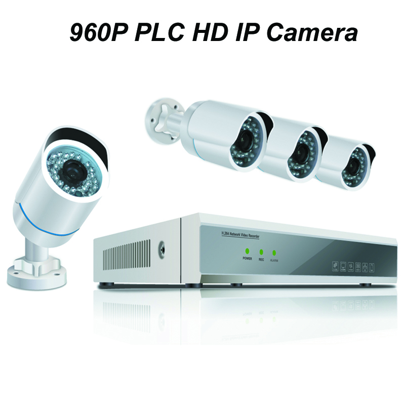 4pcs of 960P PLC HD IP Bullet Camera with 1080P NVR Kit with Power Line Communication Module Built-in Reach 300m Power Supply