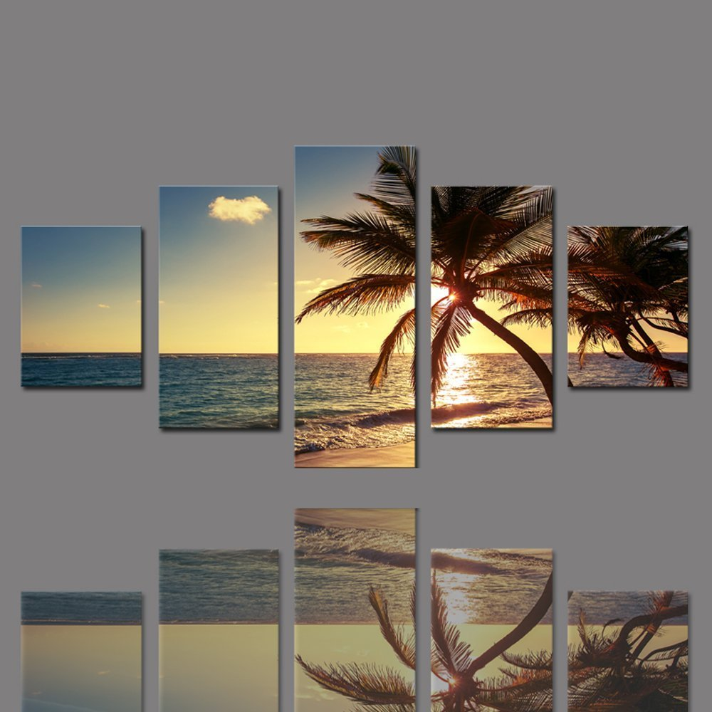 BANMU 5 Pieces Frameless Canvas Photo Prints Sea Sunset Palm Trees Wall Decorations Wall Art Picture Canvas Wall Paintings
