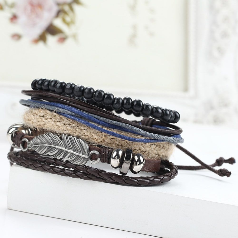 4pcs Punk Braided Adjustable Leather Multilayer Braid Bracelets Men Women Cuff VintageCasual Jewelry Wholesale Pulseras Hombre