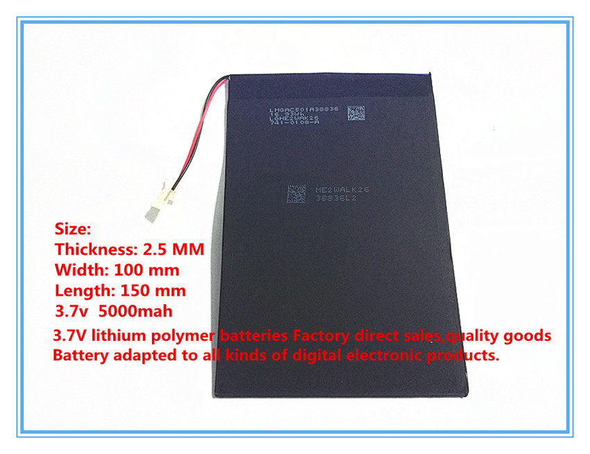 Free shippin A factory direct products lithium polymer battery 3.7V 5000mah 10 -inch Tablet PC built-in battery 25100150 3 7v lithium polymer battery 584070 2400mah electronic products built