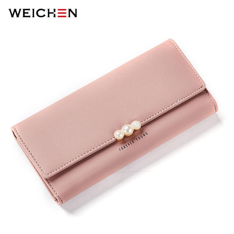 WEICHEN Hasp Clutch Wallets for Women Solid PU Leather Female Long Purse Phone Coin Pocket ID Holder Lady Purses Carteras Girls 2016 fashion women wallets handbag solid pu leather long bag high quality famous clutch lady brand cash phone card coin purse