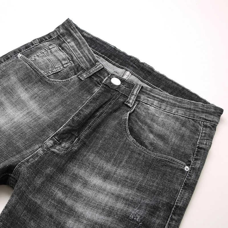 بنطلون جينز ضيق للرجال موضة 2019 بنطال قصير بطول الكاحل بفتحات ممزقة بجودة عالية من علامة تجارية للرجال