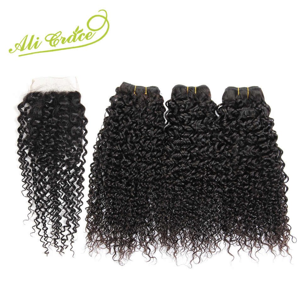 Ali Grace Malaysian Kinky Curly Human Hair Bundles With Closure 3 PCS Malaysian Remy Hair Middle&Free Part Closure Natural Color
