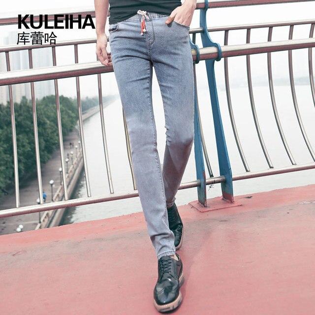 HOT 2015 summer style skinny jeans men fashion slim famous brand vintage  jeans plus size elastic waist cotton casual pants 9108 f093c139d71b