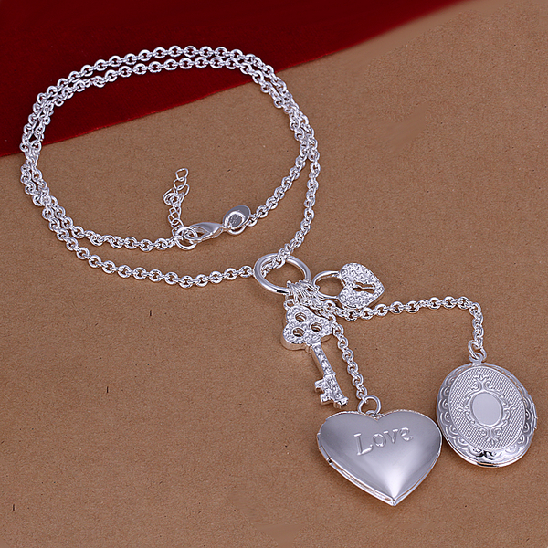 wholesale 925 sterling silver jewelry statement ffine vitage pendant silver chain double frame heart pendant nice necklace CN007