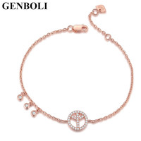 Elegant Peace Sign Bracelets Link Rose Gold Color Bracelet Sterling Silver Fashion Jewelry Cubic Zircon Stones