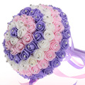 New Wedding Bouquet Crystals Pearls Silk Rose High Quality Artificial Decoration Bride Holding Bridesmaid Flowers Cheap