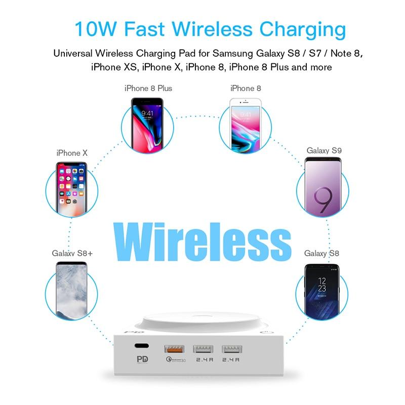 Baseus лампа Qi Беспроводное зарядное устройство для iPhone XS Max X складной настольный светодиодный светильник быстрая Беспроводная зарядка для ... - 4