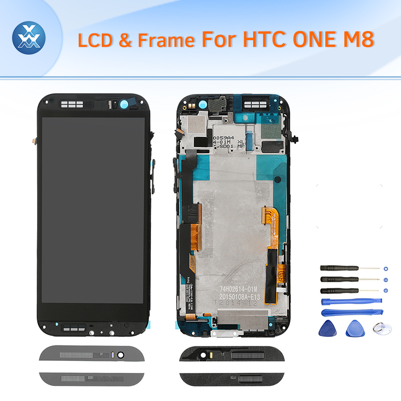 все цены на  Mobile phone LCD for HTC One M8 original LCD display touch screen digitizer assembly frame 5