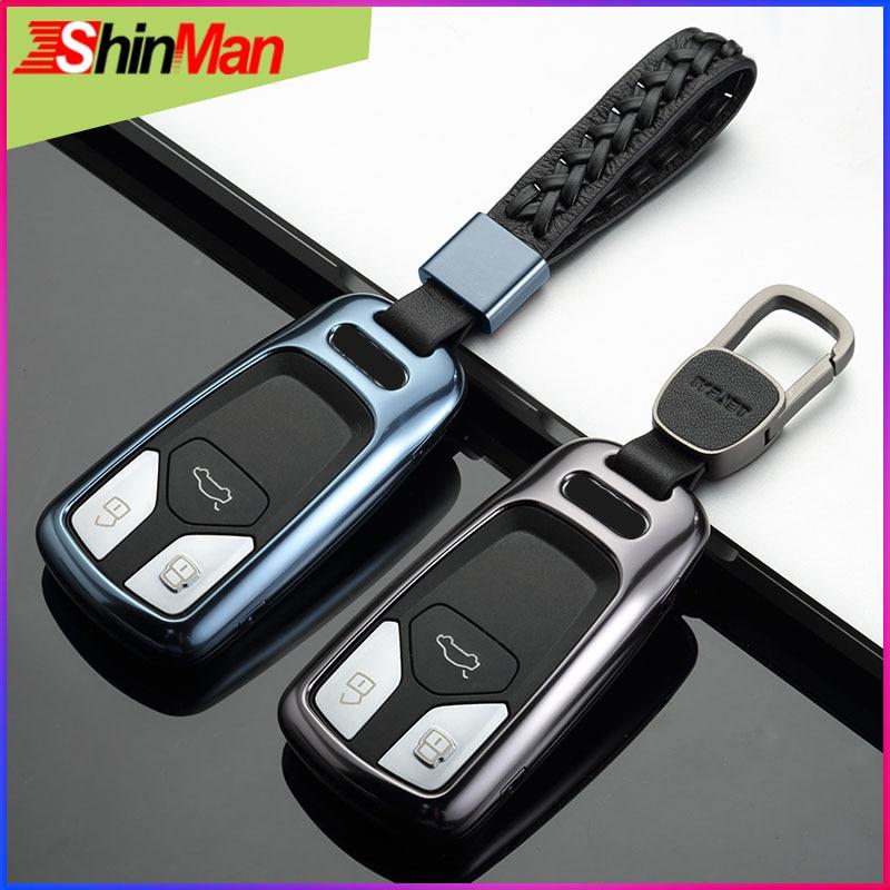 ShinMan Mode En Alliage D'aluminium clé Couvercle De clé De Voiture coquille principale Pour cas de clé de VOITURE Pour Audi A5 S5 Q7 A4 a4L TT TTS 2015-2018 Porte-clés