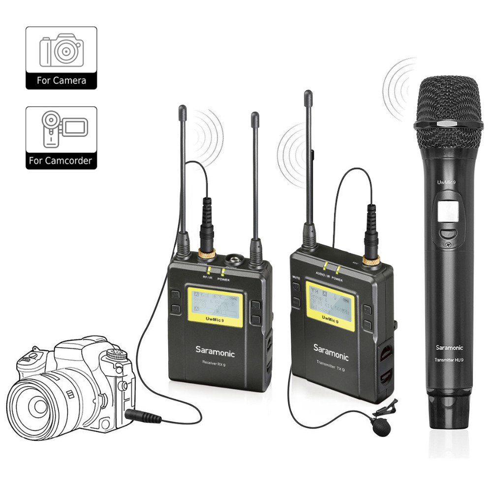 Saramonic UWMIC9 Wireless Lavalier +Handheld Microphone System with Bodypack Transmitter + Lav Mic,Handheld Mic with Transmitter free shipping 122 g2 professional uhf wireless microphone wireless system with bodypack transmitter lapel lavalier clip mic