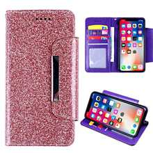 For HomTom S12 S16 Wallet Case Glitter with Card Pocket Kickstand Shining Color Phone Cover with Lanyard Rhinestone Case(China)