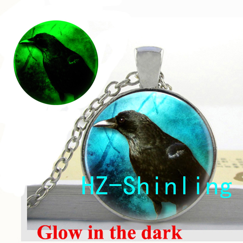 Glowing Jewelry Black Raven Necklace Black Crow Pendant Glowing Necklace Jewelry Glass Cabochon Pendant
