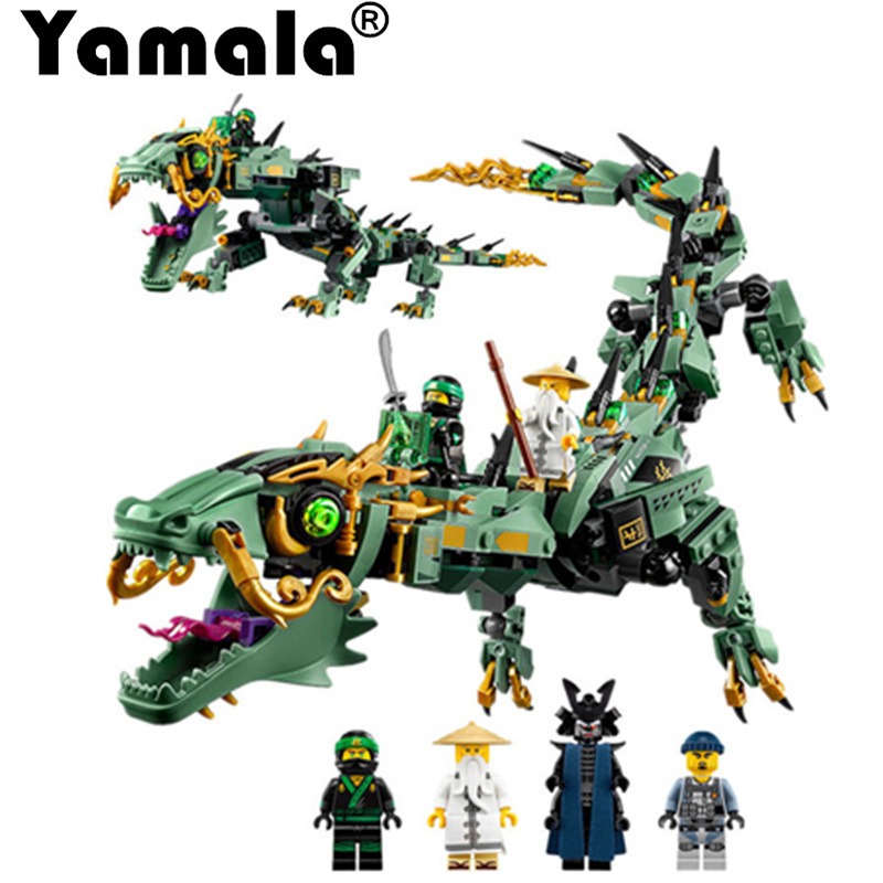 [Yamala]592pcs Movie Series Flying mecha dragon Building Blocks Bricks Toy Children Model Compatible With LegoINGly NinjagoINGly 5pcs lots 2017 film extraordinary corps mecha five beast hand collection model toy