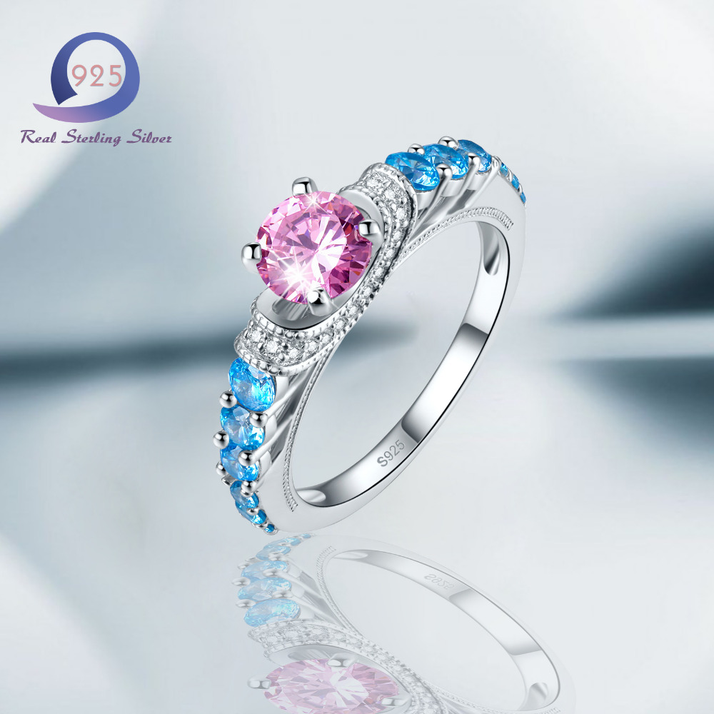 Merthus Pink Swiss Blue Ring with 925 Sterling Silver Trendy Band Rings Fashion Women Jewelry Size