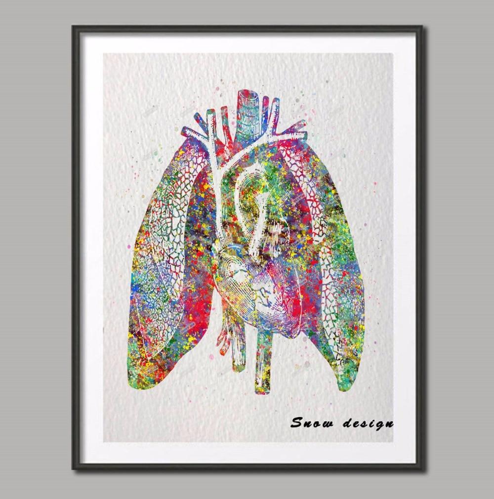 Original Aquarell Menschliche Herz Lunge Anatomie wandkunst leinwand ...