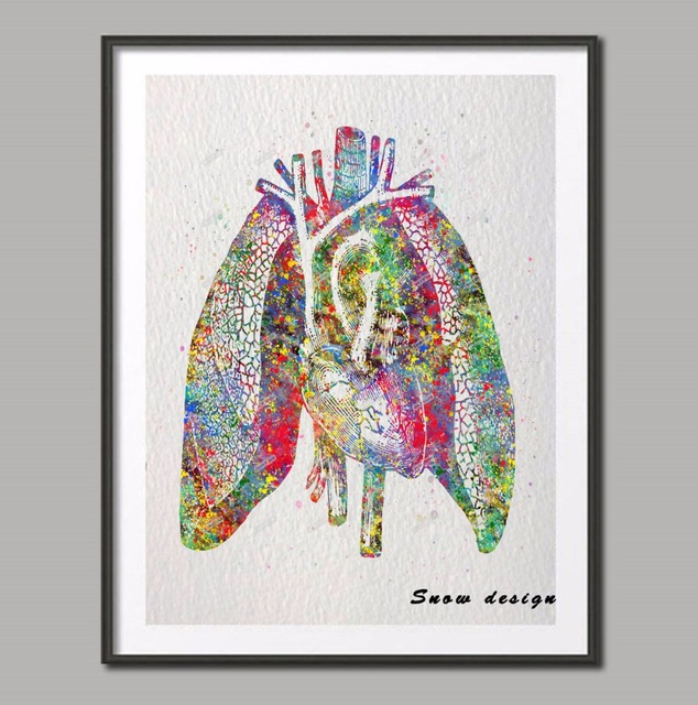 Original Watercolor Human Heart Lungs Anatomy Wall Art Canvas