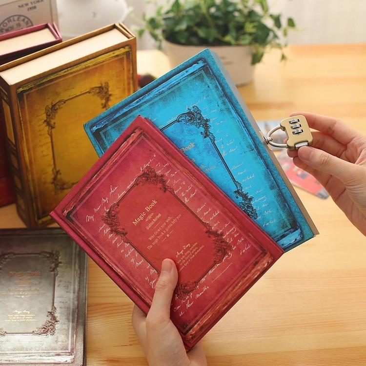 KIMCOOL European Retro Locking Notebook A5 Creative Diary Notebook Student Gift Book Notepad 1PCS