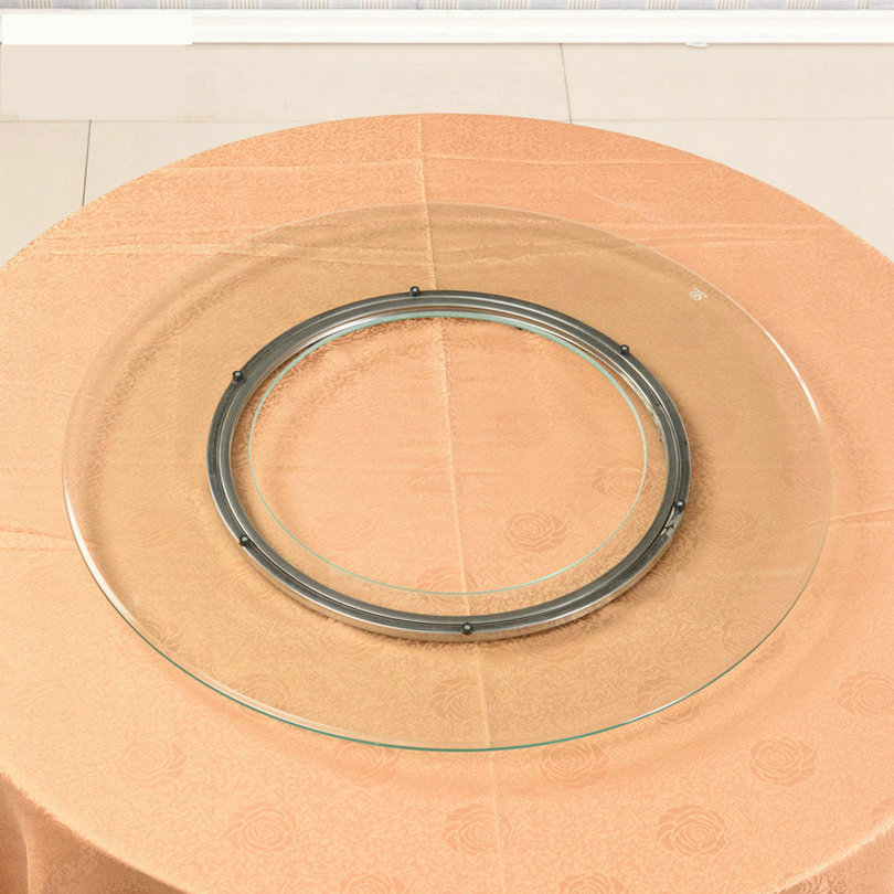 HQ HG01 80-120CM Hollow Round Glass Top With Stainless Steel Lazy Susan Swivel Plate For Hot Pot Table Decoration