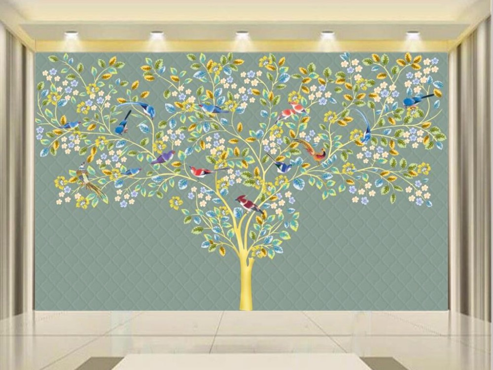 custom 3d photo wallpaper mural living room flower and bird tree photo painting sofa TV background wall non-woven wall sticker 3d wallpaper custom mural non woven wall sticker black and white wood road snow tv setting wall painting photo wallpaper for 3d