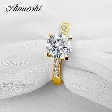 AINUOSHI 10K Solid Yellow Gold Wedding Ring Luxury Sona Simulated Diamond Jewelry Aneis Feminino 2 CT NSCD Women Engagement Ring
