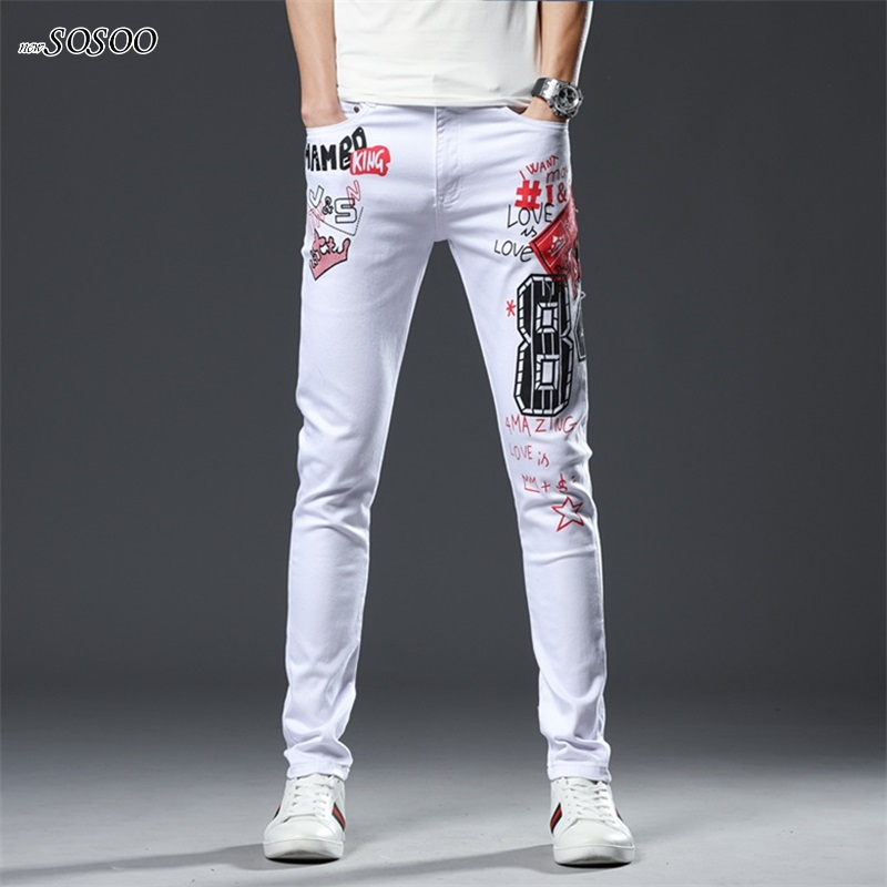 Spring New Jeans Men 100% Cotton Letter Printing Fit Slim Pencil Pants Ripped High Quality Classic Design White Jeans Men #209