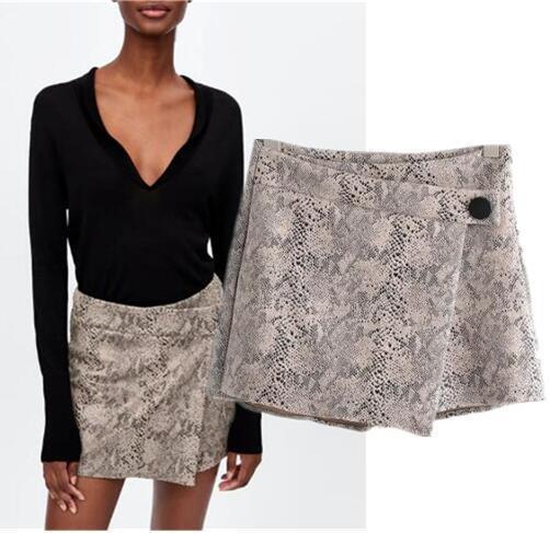 7d0f6b4783ba Snake Printing Mini Skirt Shorts Women Winter Snakeskin Print Split Skirts  9640/223