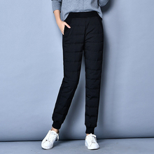 YNZZU New Winter Duck Down Pants For Women High Elastic Waist Casual Thicken Warm Harem Trousers pantalon femme B122