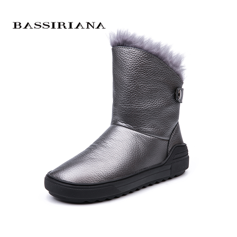 BASSIRIANA 2018 winter new natural leather ladies snow boots fashion warm women s boots color black