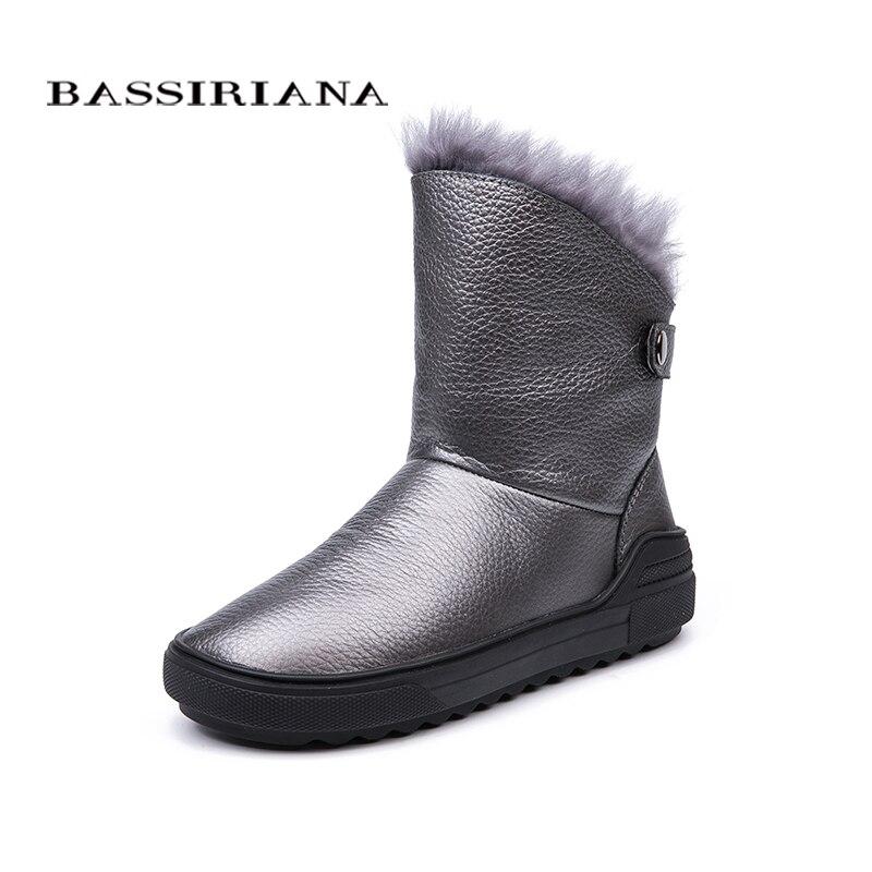 BASSIRIANA/2018 новые зимние из натуральной кожи женские зимние сапоги модные теплые женские сапоги черного цвета серый бесплатная доставка