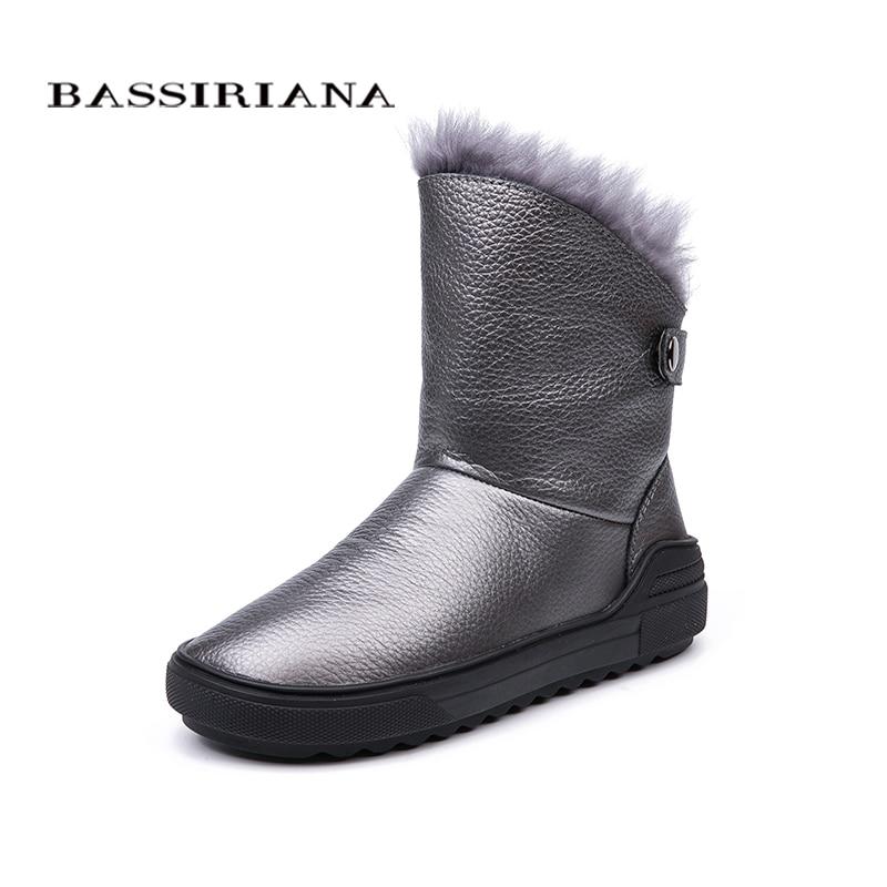BASSIRIANA 2018 zima nowy naturalne skórzane śniegowce damskie moda ciepłe damskie buty kolor czarny szary darmowa wysyłka w Buty do połowy łydki od Buty na  Grupa 1