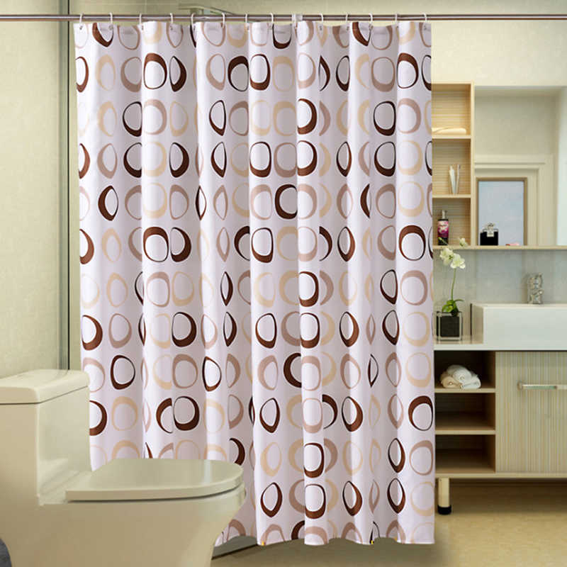 Waterproof Circle Pattern Thicken Polyester Bathroom Supplies Waterproof Shower Curtains Size 80*180 /100*180 /100*200 cm