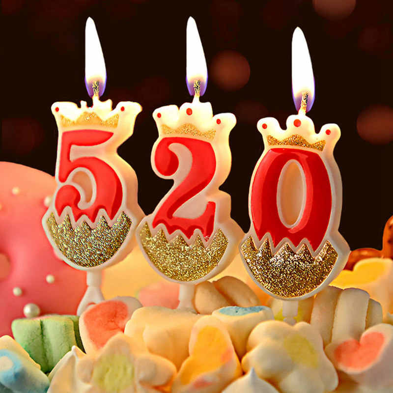 Number Crown Birthday Candles 1 2 3 4 5 6 7 8 9 0 Gold Red