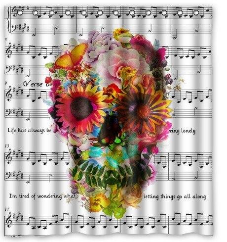 Custom Music Symbols & Cool Floral Sugar Skull Waterproof Bathroom Fabric Shower Curtain,Bathroom decor 66 x 72