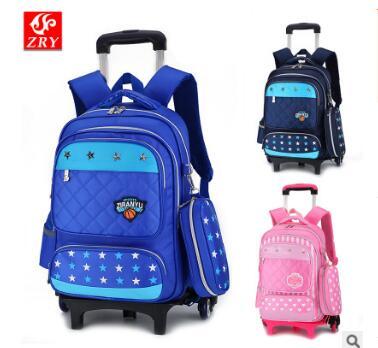 School trolley backpack bag on wheels for kid rolling backpack for school Children wheeled backpack for Boys school bag sets