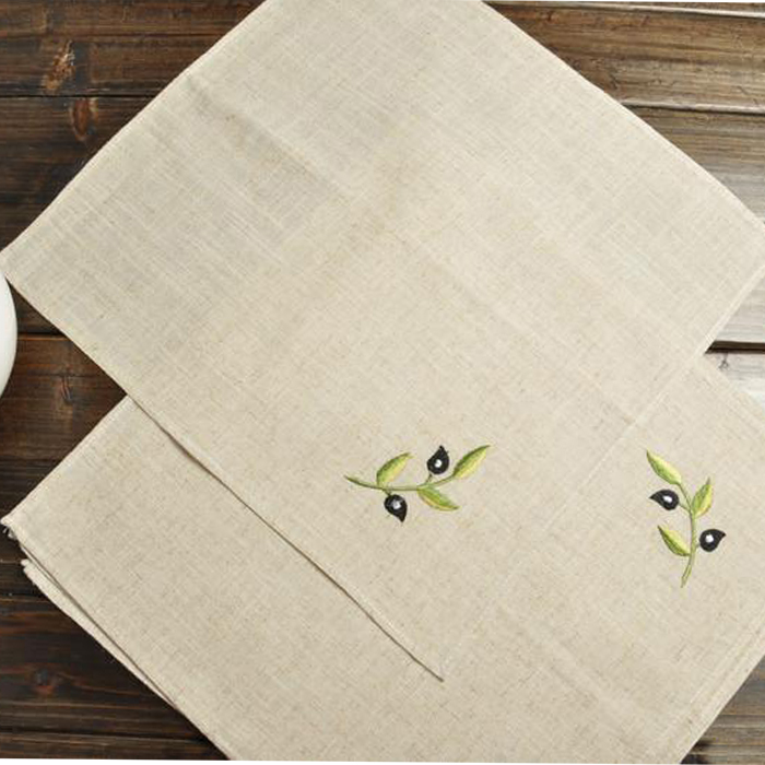 Plant Embroidered pattern napkin Linen table Placemats Dining Table Mats Tableware Jute cotton placemats Table mats for kitchen