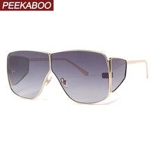 Peekaboo mens shield sunglasses women big metal frame green