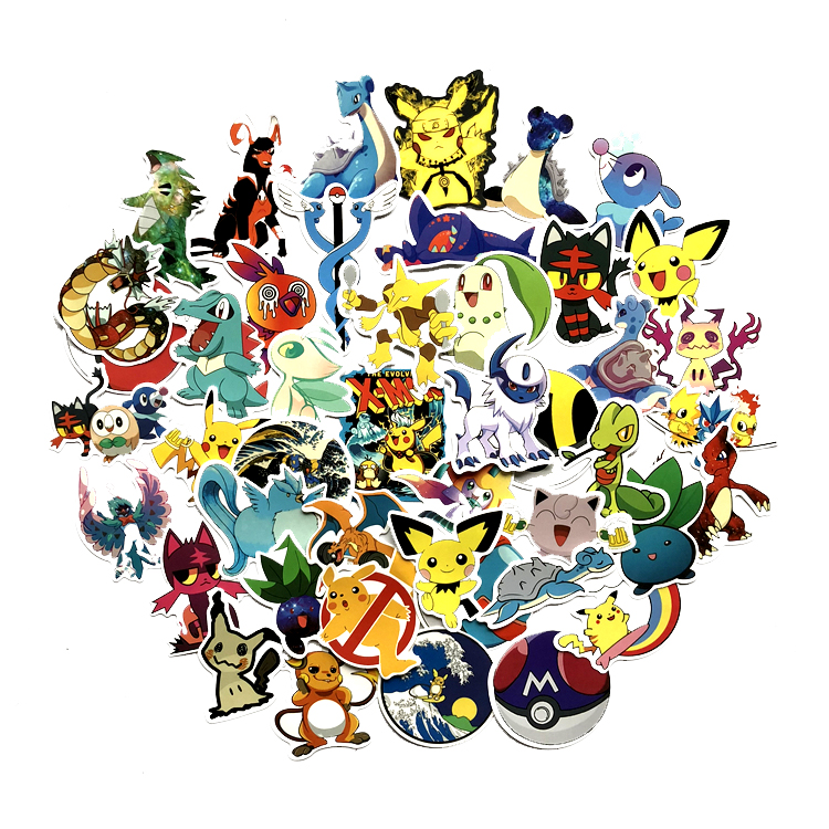 45Pcs Stickers Kawaii Pikachu Pokeball Anime Decals For Waterproof Sunscreen Notebook Trolley Case Car Sticker Decor Sticker