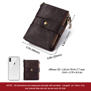 Image 2 - 100% Genuine Leather Rfid Wallet Men Crazy Horse Wallets Coin Purse Short Male Money Bag Quality Designer Mini Walet Small