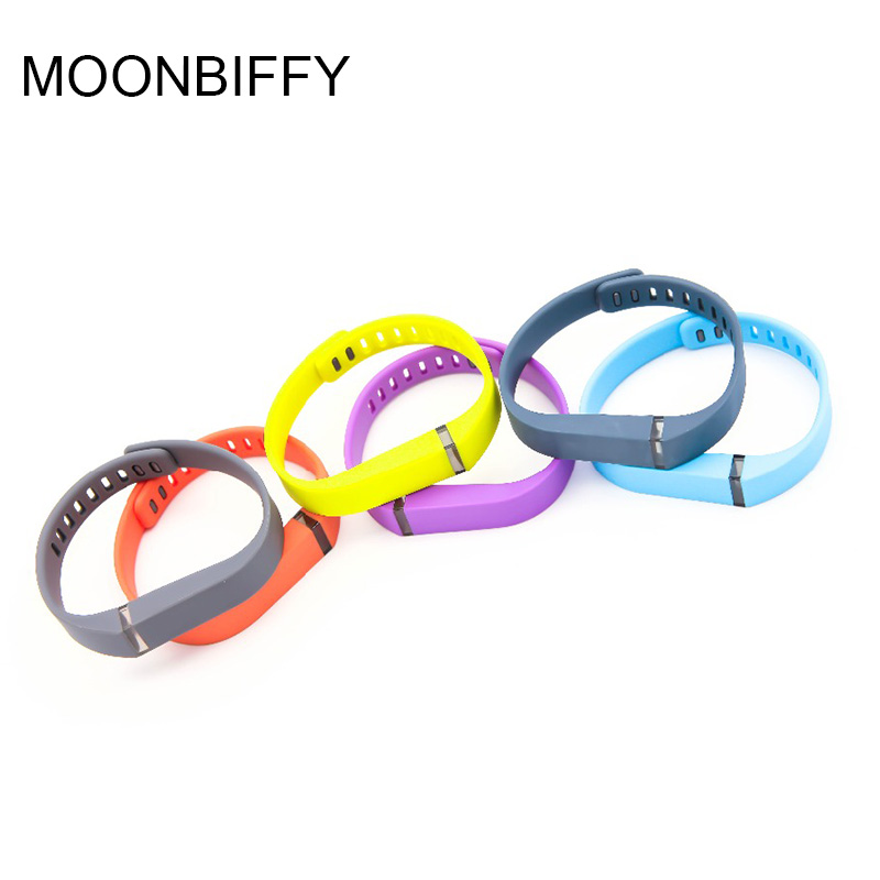 MOONBIFFY Colorful Replacement Silicone Strap Wristband Smart Band Watchband  (No Tracker) For Fitbit Flex