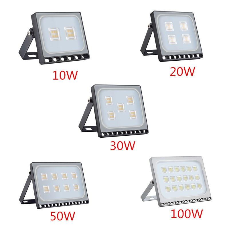 8PCS Ultrathin LED Flood Light 10W 20W 30W 50W 100W IP65 110V/220V LED Spotlight Refletor Outdoor Lighting Wall Lamp Floodlight